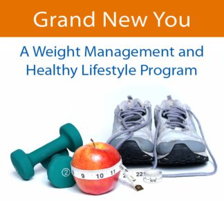 """A pair of handweights, a measuring tape wrapped around a red apple, and a pair of used sneakers underneath the text: """"Grand New You - A Weight Management and Healthy Lifestyle Program."""""""