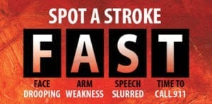 Spot a Stroke F.A.S.T. - Face Drooping, Arm Weakness, Speech Slurred, Time to Call 911.
